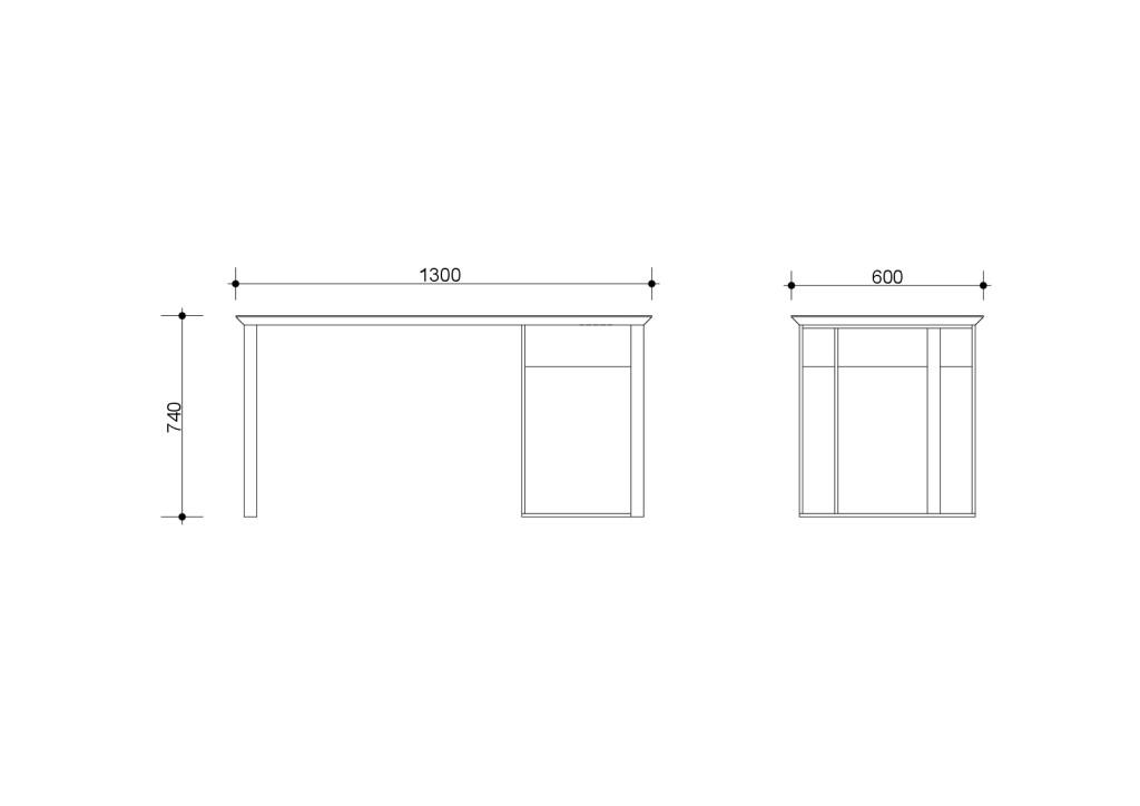 Чертеж Чернильный стол 1300-001