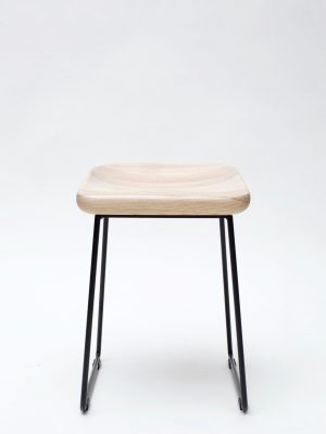 wave wood stool front